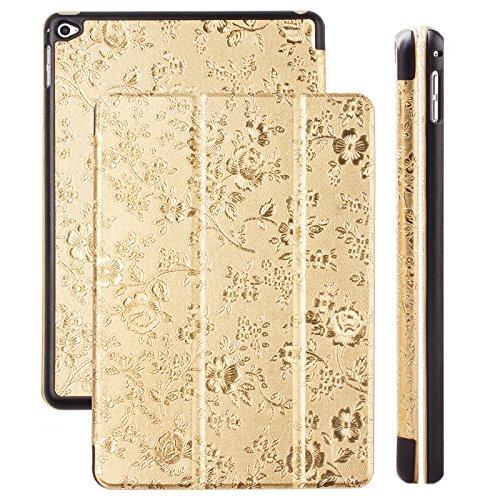 ompatibel mit Apple iPad Mini 4 | Ancho Tasche Bouquet Gold | Standfunktion Stand Leder - Imitat Book Schutz Etui zum aufklappen Flip Case Booklet Hülle Wallet Blumen ()