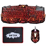 MFTEK - Teclado (retroiluminada, 3 colores, LED, USB - kit con ratón y alfombrilla), color negro