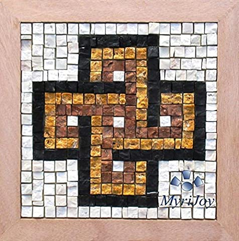 Easy Solomon's Knot 23x23 cm Roman Mosaic kit for beginners Italian marble mosaic tiles (pre-sized) - Make your own gift - DIY Puzzle Art - Crafts for adults - Original Anniversary gift