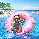 infinitoo Donut Schwimmring, Aufblasbarer Donut Schwimmreifen Float Spielzeug Ø 110cm Rosa für Erwachsene und Kinder, Pool Luftmatratze Schwimmreifen für Pool Party Strand etc