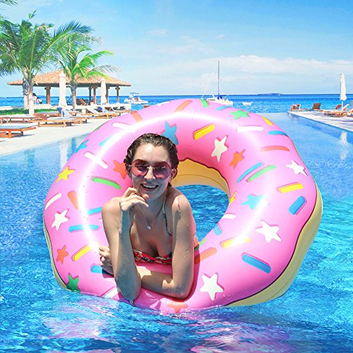immring, Aufblasbarer Donut Schwimmreifen Float Spielzeug Ø 110cm Rosa für Erwachsene und Kinder, Pool Luftmatratze Schwimmreifen für Pool Party Strand etc ()