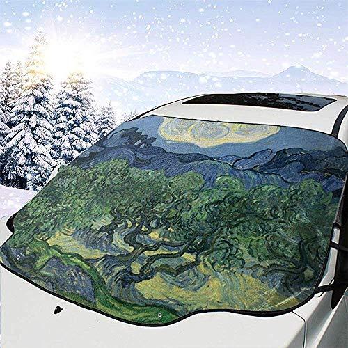 Dem Boswell Olivenbäume Auto Windschutzscheibe Schneedecke Auto Windschutzscheibe Schnee Sonnenschutz Außenschild Schutz Passt die meisten Wetter 147 X 118 cm