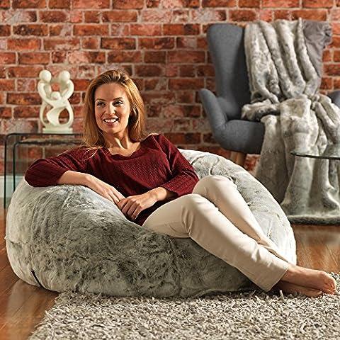 ICON XL Panelled Faux Fur Bean Bag Chair - Extra Large Bean Bags ARCTIC WOLF - Large Designer Bean