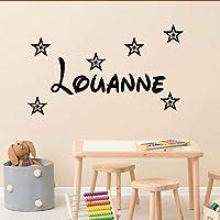 Stickers mural prénom avec 6 étoiles. Décoration mur chambre enfant/bébé. 14 couleurs au choix.