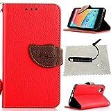 TOCASO Rot Leder Schutzhülle für LG Nexus 5 Hülle Flip Wallet Case, Leder Hüllen Portable Handyhülle Anti-Scratch [ID Card Slot] Soft Silikon Back Tasche r Schutzhüllen für LG Nexus 5