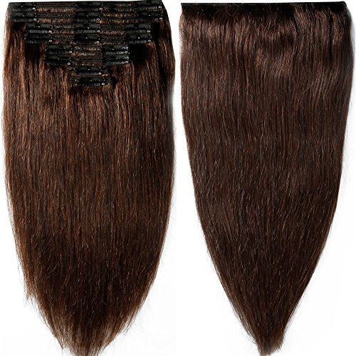 "130g-160g 16"" 18"" 20"" 22 Inch True Double Weft Thick Full Head Set Clip in 100% Remy Human Hair Extensions Top Grade 7A For Woman Beauty 8 Pieces 18 Clips (#2 Dark Brown 18 Inch 140g)"