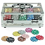 Juego Poker Crystal Standard I Bauletto Con 200 Chips/Fiches Da Poker & Texas Hold'em I Per Giocatori Professionisti I Fiches Colorate - Trasparente