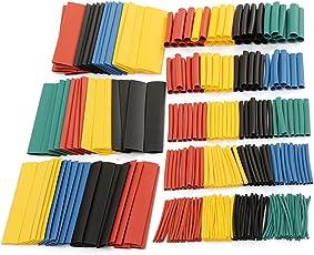 PUAK523 328 Schrumpfschlauch-Set, 2:1 Polyolefin Elektrische Isolierschläuche, Schrumpfschlauch-Set, 5 Farben, 8 Größen