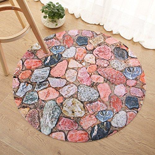 Xin Yu Yue Firm Tapis rond, modèle en pierre 3D Tapis de salon table basse (Couleur : B, taille : 60*60cm)