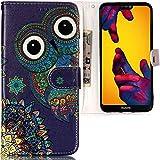 CLM-Tech Huawei P20 Lite Hülle, Tasche aus Kunstleder Eule lila bunt, PU Leder-Tasche für Huawei P20 Lite Lederhülle