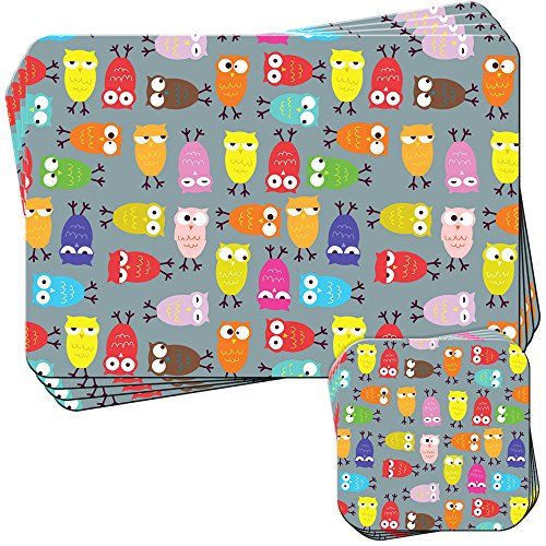 Big Eye Gufo carta da parati Set di 4 tovagliette e sottobicchieri, Acrilico, Sleepy Crazy Confused Owl, 4 Placemats & 4 Coasters