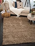 "A2Z Rug ( 120x170 cm (4ft x 5ft8"") Dark Beige ) Cozy Shag Collection Solid 5.5 cm Pile Shag Rug Contemporary Living & Bedroom Soft Shaggy Area Rug, Carpet"