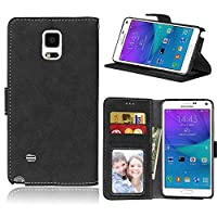 BONROY Case,Samsung Galaxy Note 4 Flip Leather Case, Shockproof Bumper Cover and Premium Wallet Case for Samsung Galaxy Note 4