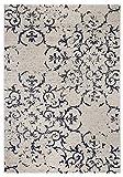 Teppich Puerto Webteppich Designteppich Kurzfloorteppich Musterteppich – geeignet für den Wohnbereich – Polypropylen-schadstofffrei – 80 x 150 cm, Creme-blau