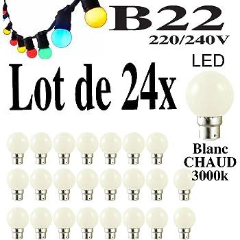 Lot De 24 Ampoules Led B22 1w Guirlande Blanc Chaud 3000k