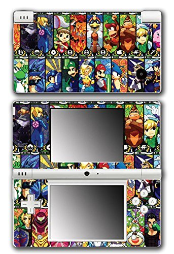 Super Smash Bros Melee Brawl Mario Pikachu Yoshi Mega Man Zelda Sonic Metroid Stained Glass Art Video Game Vinyl Decal Skin Sticker Cover for Nintendo DSi System by Vinyl Skin Designs - Und Mario Ds Sonic