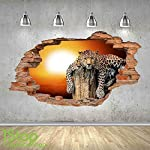 LEOPARD SUNSET WALL STICKER 3D LOOK - BEDROOM LOUNGE NATURE ANIMAL WALL DECAL Z493