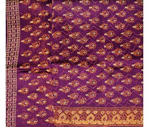 Exotic India Magenta-Purple Chanderi Salwar Kameez Fabric with Block-P - Magenta