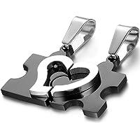 OIDEA Collana per Coppia Lovers Collana in Acciaio Inox Pendente Puzzle Cuore Regalo per Amante Nero(1 Coppia)