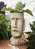 ABC Home Moai Pflanztopf Osterinsel Garten Topf Blumentopf Blumenkübel Pflanzkübel Pflanzenkübel Blumenkasten Pflanzkasten Gartendeko Deko Magnesiumoxid Garten