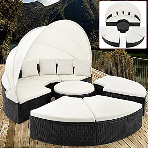 Poly Rattan Garden Day Bed Garden Furniture Ø 230 cm 7.5 ft with Hinged Roof White Canopy + 9 Pads + Pillowcases