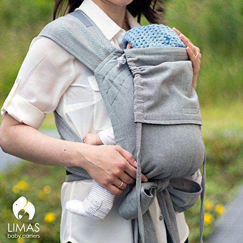 LIMAS Babytrage BIO-Baumwolle, wendbare Bauch-, Rücken- und Hüfttrage - Blau/Grau - 3