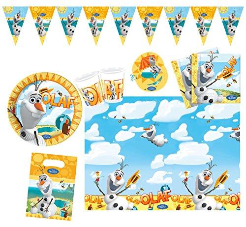 Procos 10108329 Kinderpartyset Disney Frozen Olaf Summer, M, 50 teilig (Disney Olaf Aus Kunststoff Tischdecke)