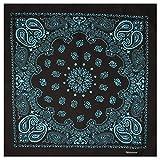 Bandana / Bandanas mit exclusivem Paisley Muster in reiner Baumwolle, Schwarz / Türkis, 55x55cm