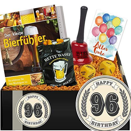 Zum 96. Geburtstag | Geschenkbox Bier + Trinkspiel | 96 Geburtstag Frau Geschenke