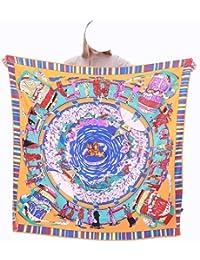 MGHOCS 100% Bufanda de Seda Mujer Estampado Floral Bufandas Cuadradas Envuelve Chales Grandes Foulard de