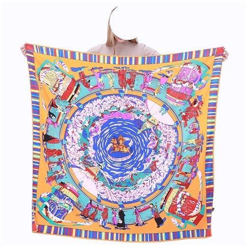 MGHOCS 100% Bufanda de Seda Mujer Estampado Floral Bufandas Cuadradas Envuelve Chales GrandesFoulard de SedaPañuelosFemme Echarpes 130Cm, 2