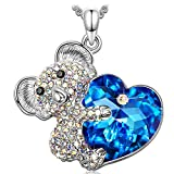 Kate Lynn Let Me Hug You Necklace Pendant Bear Heart for Women Girls Blue Crystals from SWAROVSKI Long chain 65cm Jewellery Gifts Gift for Her Ladies Mum Mother Wife Daughter Girlfriend Best Friend