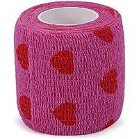 Vendaje autoadherente, 4 tipos de cinta autoadhesiva de tela no tejida Cinta elástica fuerte de deporte para muñeca, tobillo(corazón púrpura y rojo)