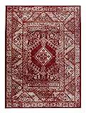 Kleiner traditioneller Perserteppich - Weinrot - Perser Keshan Orientalisches Muster - Ferahan- Ziegler Ornamente - Top Qualität Pflegeleicht Teppich
