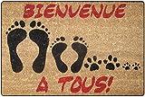Tapis Déco Paillasson Imprimé Bienvenue Coco/PVC Imprimé 60 x 40 cm