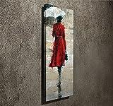 LaModaHome Deko Leinwand Art Wand (30,5x 78,7cm) Holz Dick Rahmen Gemälde Zeichnung Regenschirm Frau Kleid Cute Sweet Rain Multi Varianten in Store.