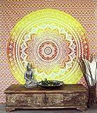 Guru-Shop Indisches Mandala Tuch, Wandtuch, Tagesdecke Mandala Druck - Orange/gelb, Baumwolle, 230x210 cm, Bettüberwurf, Sofa Überwurf