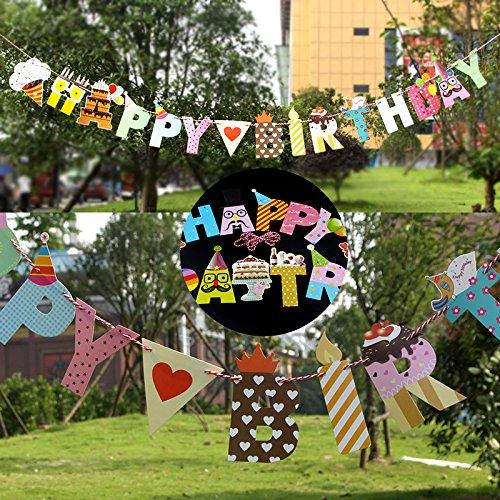 Emorias 1 Set Flagge Geburtstag Party Happy Birthday Bunting Banner Festival Dekoration (Birthday Im Flagge Freien Happy)