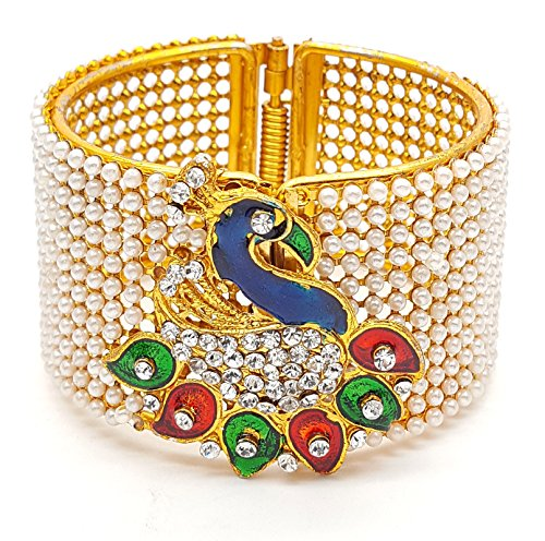YouBella Jewellery Traditional Gold Plated Pearl Studded Peacock Bracelet Bangle For Girls and Women  available at amazon for Rs.275
