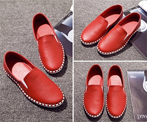 Red und einzelne Ebene Slip Muessiggaenger Schuhe beilaeufige Frauen Weise beilaeufige auf Bootsschuhe Art Fxvwq5C7