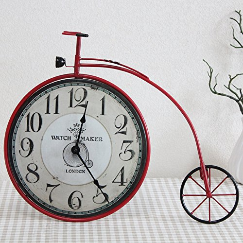 Lx.AZ.Kx Le decorazioni a parete americano bicicletta retrò Orologio da parete parete decorazione Living Room Bedroom personalità parete orologi murali,Red pneumatico per bicicletta orologi