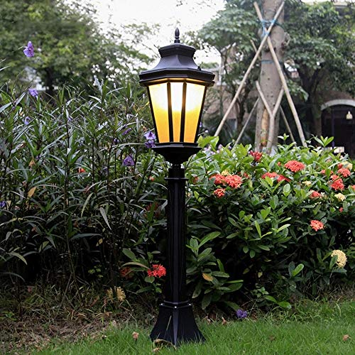 1-licht-post-lampe (XIAOOL Traditionellen viktorianischen Stil schwarz 1-Lights Way Ip55 wasserdichte Outdoor-Garten Lampe Post Licht Glassäule Lampe LED-Licht E27 Dekoration Straßenlaterne Rasen Villa Lampe)