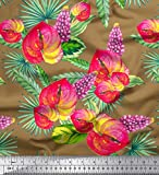 Soimoi Braun Samt Stoff Blätter, laceleaf & Lupine Blumen-