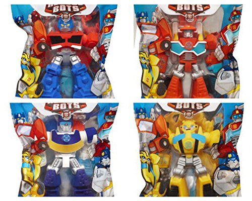 Playskool Heroes 10,2 cm G1 Transformers Rescue Bots grab-pack Limited Edition Action Figuren – Bumblebee, Chase police-bot, Heatwave fire-bot, und Optimus Prime – Set von 4
