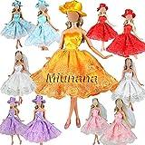 Miunana 3 Robes Pour Barbie De Livraison Aléatoire + 3 Paires De Chaussures Pour Barbie Avec chapeau / Voile De Mariée