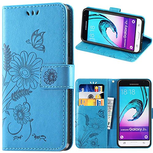 Galleria fotografica Cover Samsung J3, kazineer Cover Galaxy J3 Flip Caso in pelle Portafoglio Custodia per Samsung Galaxy J3 (2015/2016) - Turchese blu