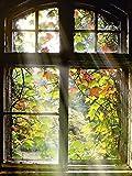 Artland Qualitätsbilder I Wandbilder Selbstklebende Premium Wandfolie 60 x 80 cm Architektur Fenster Türen Foto Braun A7HX Altbau