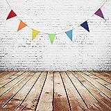 SM SunniMix Dreieck Stoff Girlande Stoffgirlande Wimplekette Dekoration für Hochzeitsfest, Babyzimmer, Kinderzimmer, Geburtstagsfeier - Regenbogen, 2,5 Meter