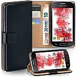 OneFlow Tasche für Samsung Galaxy Trend / Trend Plus Hülle Cover mit Kartenfächern | Flip Case Etui Handyhülle zum Aufklappen | Handytasche Schutzhülle Zubehör Handy Schutz Bumper in Schwarz