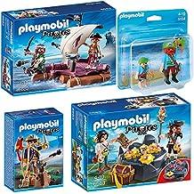 PLAYMOBIL® Piraten 4er Set 6682 6683 6684 5164 Piratenfloß + Piraten-Schatzversteck + Piratenkapitän + Großer und kleiner Pirat
